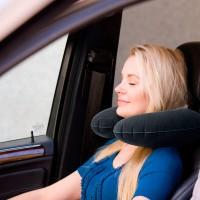 Подушка на шею надувная, для поездок, вельветовый флок