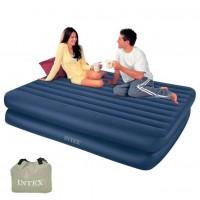 Кровать высокая, Midnight Blue, Queen, флок (встроенный насос 220В)
