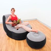 Кресло ULTRA LOUNGE с подстаканником, флок + пуфик