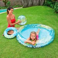 Бассейн Звездочки, 2 кольца, набор (бассейн, мяч, круг)