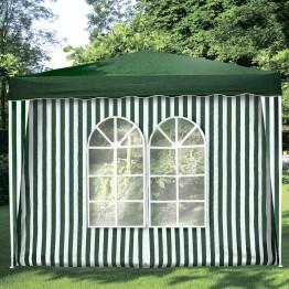 Стенка для шатра с окнами зеленая
