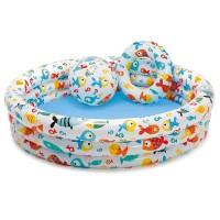 Бассейн Веселые Рыбки, 3 кольца, набор (бассейн, мяч, круг)